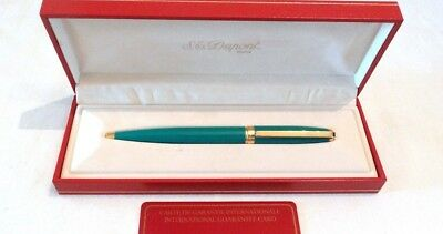 S. T. Dupont Fidelio Sky Blue (Turquoise) Ballpoint Pen With Gold Accents - New