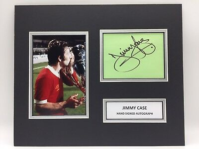 RARE Jimmy Case Liverpool Signed Photo Display + COA 1977 EUROPEAN CUP FINAL