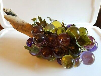 Large GREEN & PURPLE Mid Century LUCITE ACRYLIC Grapes GRAPE Cluster & DRIFTWOOD