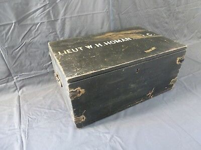 Vintage WWII Wooden Lieutenant British Army Military Chest Coffee Table