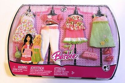 Barbie 2008 Clothing Gift Set Baby Doll Dress Skirt Tops Shoes Purses NEW SEALED