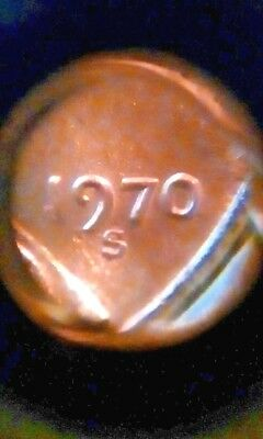 """1970-S  """"Slant 7"""" small date  BU Lincoln cent / penny  -  Business Strike"""