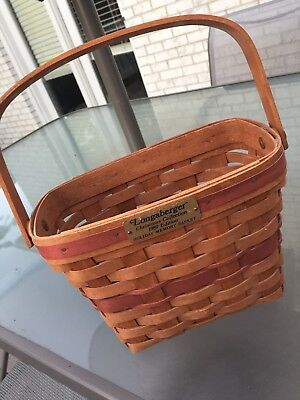 Longaberger Christmas Collection 1989 Edition Holiday Memory Basket Red Splints