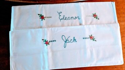 Vintage Pair Pillowcases Embroidered Crocheted 100% muslin Eleanor & Jack