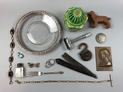 VTG Junk Drawer Lot Sterling Fork Jewelry Gold Fill Earring Watch FOB Morgan