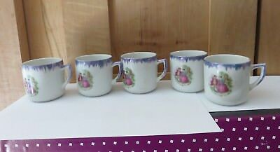5 Vtg Demitasse Cups Victorian Courting Couple  Iridescent Luster Trimmed *sale*