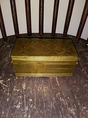 Old Middle Eastern Inlaid Brass Box w Handles