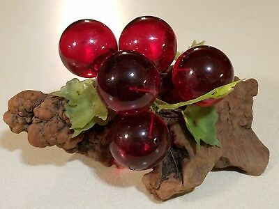 Vintage RED Mid Century LUCITE / ACRYLIC Grapes GRAPE Cluster & Large DRIFTWOOD