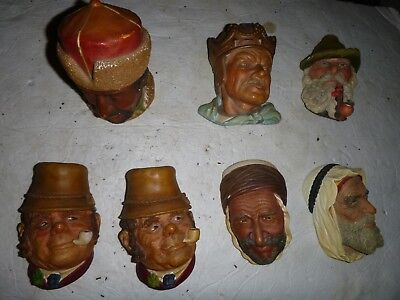 Bossons Chalkware Lot of 7 Heads Good Shape Marked on back