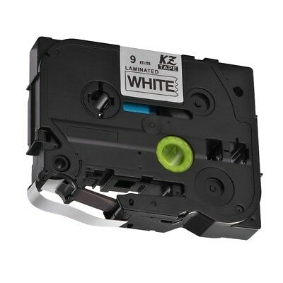 9mm Black on White 8m Label Tape Compatible for Brother P-Touch PT-18RZ HS1160