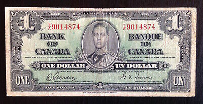 Canada, Bank of Canada, $1, 2-Jan-1937, P-58d Gordon-Towers, F-VF Short Snorter
