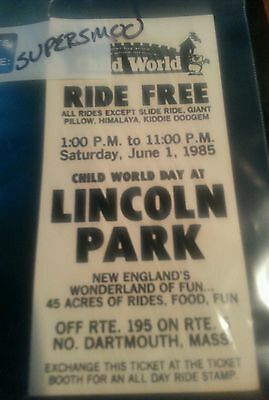 1985 Lincoln Park Amusement N. Dartmouth Ma Child World Ride Pass Ticket