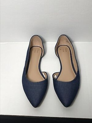 30d77bb17ef90 A New Day Women s Mohana D orsay Pointed Toe Ballet Flats Blue Denim Sz 7.5