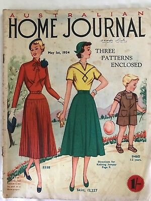 Australian Home Journal, May 1954, Vintage Magazine with unused pattern