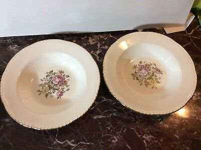 Beautiful Vintage Pair of Homer Laughlin Floal with Gold Rim Soup Bowls