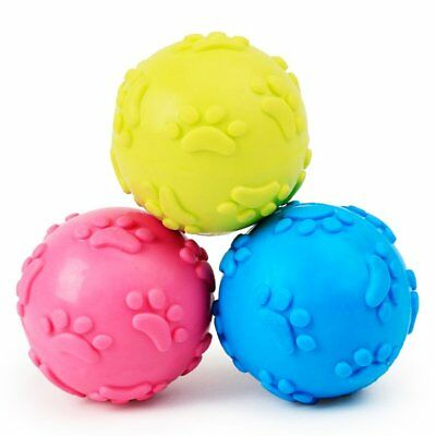 Dog Puppy Cat Pet Squeaky Squeaker Tpr Chew Sound Ball Play Training Toys G2