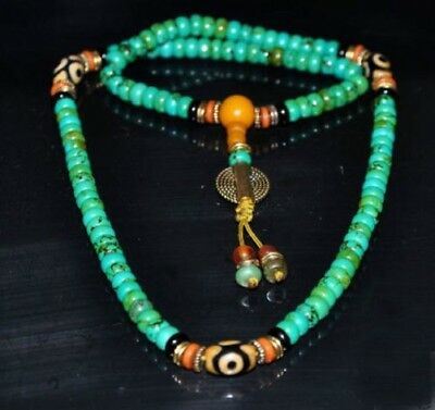Tibetan turquoise buddhist buddha worry prayer bead mala Necklace