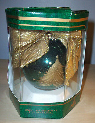 NIB GERMAN Kreated by Karen Hand-Painted Green Gold Christmas Tree Ball Ornament
