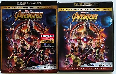 Marvel Avengers Infinity War 4K Ultra Hd Blu Ray 2 Disc Set + Slipcover Sleeve