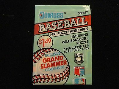 (1) Pack of 40 1991 DONRUSS Series 2 Baseball Picture Cards + 6 Puzzle Pieces