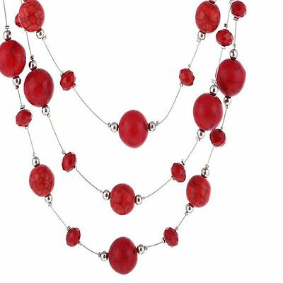 Gothic Statement Boho Long For Red Fashion Necklace Jewelry Multilayer Women