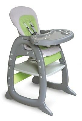 Envee II Infant Baby High Chair w/ Play Table/Chair Conversion Gray & Green NEW