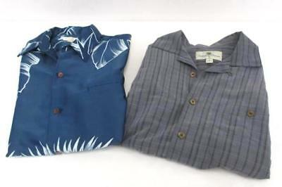 Lot of 2 Tori Richard Blue Hawaiian Island Shores Gray Plaid Button Down Men's S