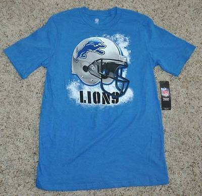 b8b77f2da Nwt-Boys NFL Football Detroit Lions Smash Bouche Casque Manches Courtes  Shirt-Sz