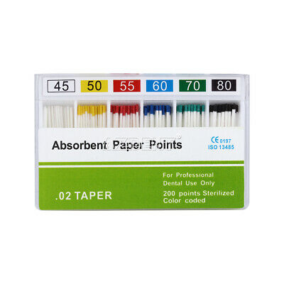 200 Pcs Dental Endo Absorbent Paper Points PP 0.02 45 -80# Toothdrill Water-Abso
