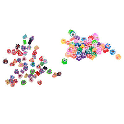 100 Pcs 8mm Heart and Flower Shape Polymer Clay Beads for DIY Jewelry Making