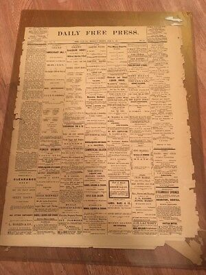 1882 Bodie California Daily Free Press Newspaper Mining Ghost Town