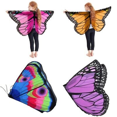 Kids Girls Fairy Butterfly Costume Wings Gift Festival Holloween Cosplay Shawl