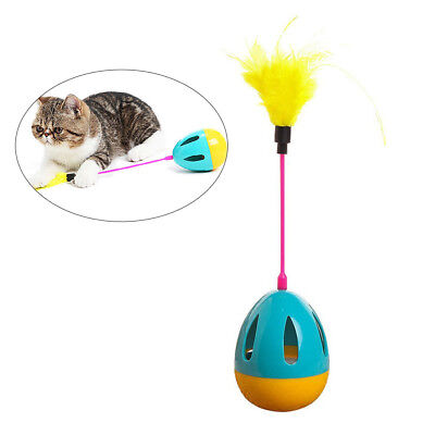 AU Pet Cat Kitten Mouse Tumbler Ball Toy Feather Chaser Funny Rolling Mice Toy