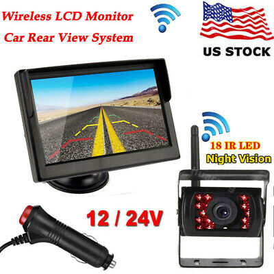 """5"""" HD TFT Monitor+Suction+2.4G Wireless Back Up Camera Kit For Bus Truck Trailer"""