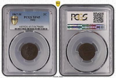 1867-M Italy Two Cent 2c PCGS GRADED - XF45BN - #600