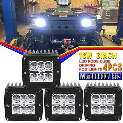 4x 3inch 18W LED Work Driving Light Bar Flood beam Reverse Lamp For Offroad Boat