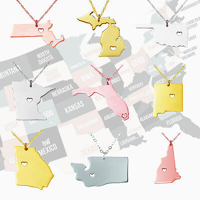Choose Your State Necklace I Heart Stainless Steel Dainty State Map Charm Jewel