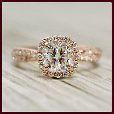 1.50ct Cushion & Round Cut Halo Diamond Engagement Wedding Ring 14K Rose Gold