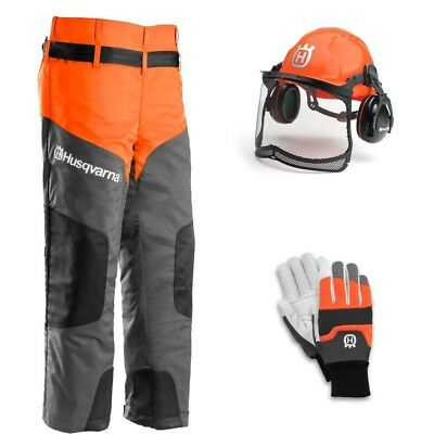HUSQVARNA Basic Chainsaw PPE Protective Kit Gloves Helmet Ear Defenders Trousers
