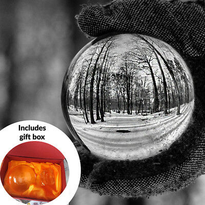 Clear Crystal Ball 80mm K9 Glass Lens Sphere Photography Decoration M&W UK
