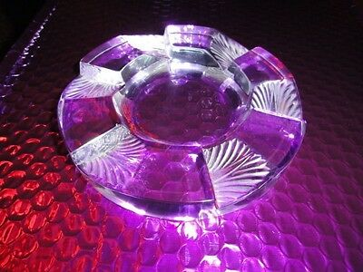 Vintage Lalique French Crystal Art Deco Ashtray With Box Signed