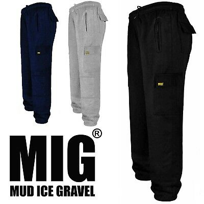 Mens Cargo Work Tracksuit Jogging Bottoms with Knee Pad Pockets By MIG - 023