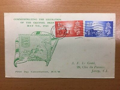1948 Channel Islands Liberation First Day Cover Jersey Slogan postmark