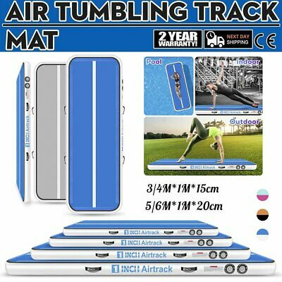 20ft Airtrack Air Track Floor Inflatable Gymnastics Tumbling Mat GYM +Pump Blue