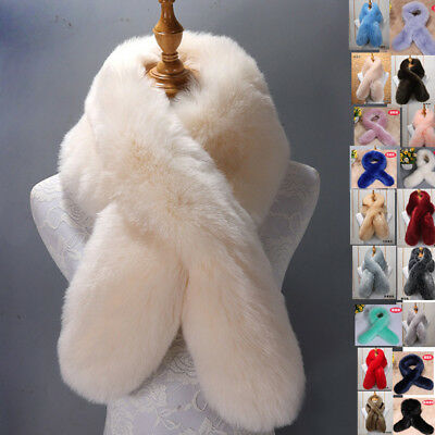 2019 Winter Women Ladies Faux Fur Scarf Neck Long Warmer Wrap Collar Shawl Stole
