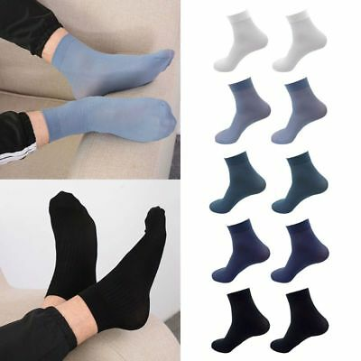 2/5/10 Pairs Mens Bamboo Fiber Ultra-Thin Elastic Business Ankle Socks Deodorant