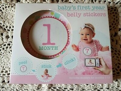 BABY'S FIRST YEAR PINK Girl Peel-and-Stick Belly Stickers Months 1-12 NEW