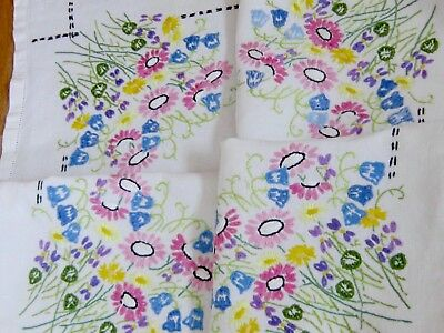 "Beautiful Vintage Hand Embroidered Natural Linen Tablecloth  ""meadow Flowers """