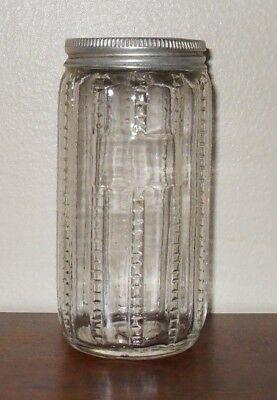 Antique Hoosier Kitchen Cabinet Spice Jar Clear Zippered Pattern Glass Canister