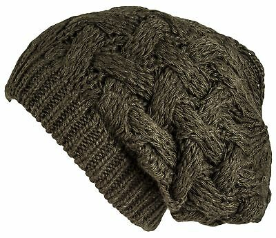 Lilax Cable Knit Slouchy Chunky Oversized Soft Warm Winter Beanie Hat Dark Olive